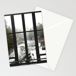 Window to the Waterfall and Forest   Foggy Forest Landscape in Autumn Stationery Cards
