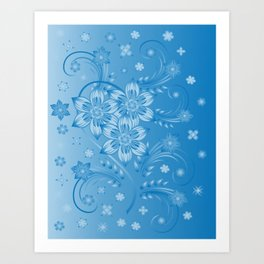 Abstract blue flowers with background Art Print