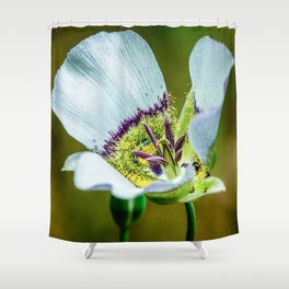 Mariposa Lilly // Macro High Resolution Photograph of the Beautiful White Petals Shower Curtain