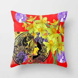 RED ART NOUVEAU MAGIC OF SPRING Throw Pillow