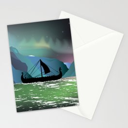 Viking Boat at Norwegian Fjord Stationery Cards