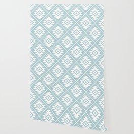 Aztec Symbol Ptn White on Duck Egg Blue Wallpaper