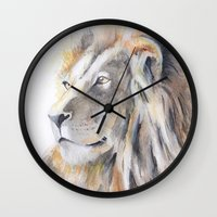 lion king Wall Clocks featuring Lion King by pablolabel