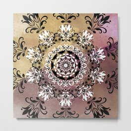 ELEGANT BLACK AND WHITE WATERCOLOR MANDALA Metal Print