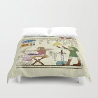 hyrule Duvet Covers featuring hero-glyphics: Hyrule History by Josh Ln