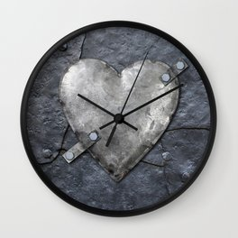 Galvanized metal heart on iron background Wall Clock