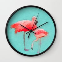 flamingos Wall Clocks featuring Flamingos  by Xchange Art Studio
