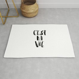C'est La Vie black and white watercolor typography wall art home decor hand lettered life quote Rug