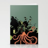 scuba Stationery Cards featuring tentacle scuba by Sarah Baslaim