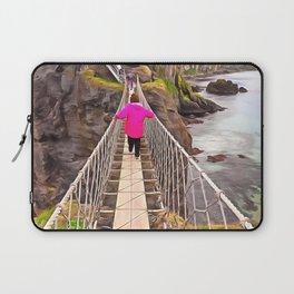 Carrick-a-rede rope bridge, Ireland. (Painting) Laptop Sleeve