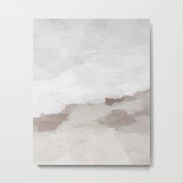 Desert Storm Gray Clouds Beige Sandy Dunes Desolate Abstract Nature Painting Art Print Wall Decor  Metal Print