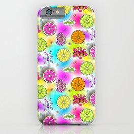 Halftones Sliced Citrus Pattern - Neon Pop Art iPhone Case