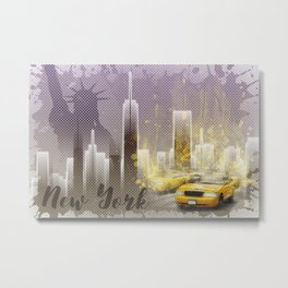 Graphic Art NEW YORK Mix No. 6 | purple | splashes Metal Print