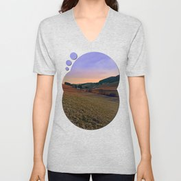 Beautiful valley scenery in the evening | landscape photography Unisex V-Neck