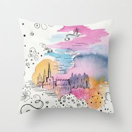 The arrival of the baby boy Throw Pillow