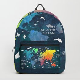 Ocean World Map color #map #worldmap Backpack