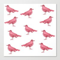 birdy Canvas Prints featuring birdy by laura