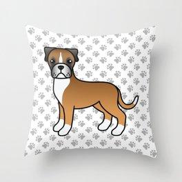 Cute Fawn Boxer Dog Cartoon Illustration Throw Pillow