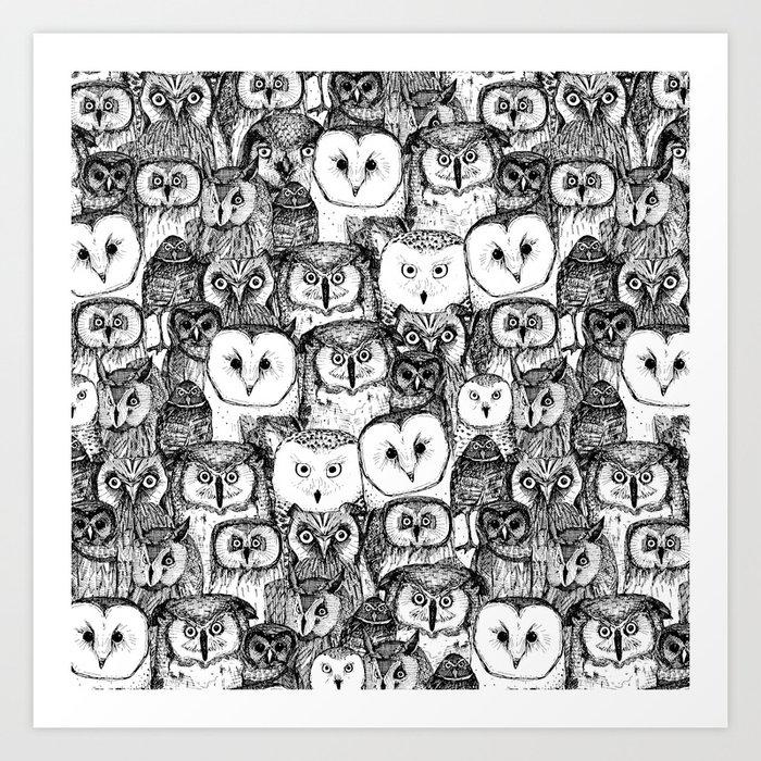 just owls black white Kunstdrucke