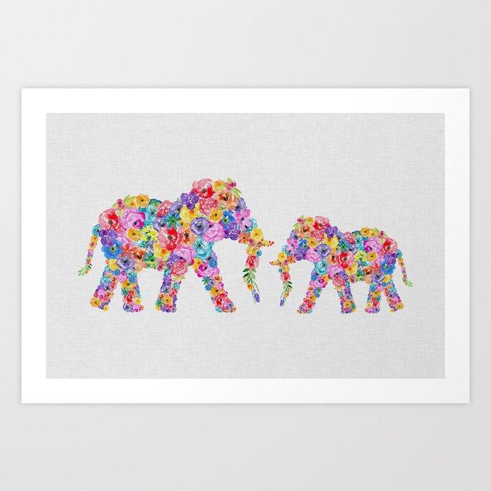 Floral Elephants, Nursery Decor Kunstdrucke
