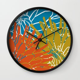 Colorful Abstract Blossoms Wall Clock