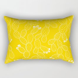 Yellow Sketch Cactus Repeat Rectangular Pillow