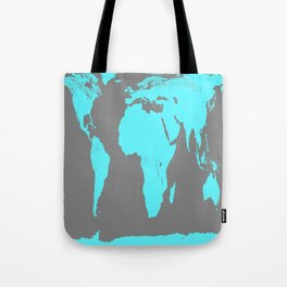 World Map Gray & Turquoise Tote Bag