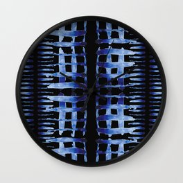 """Black and Blue Watercolor Pattern """"Cross Hatch"""" Wall Clock"""