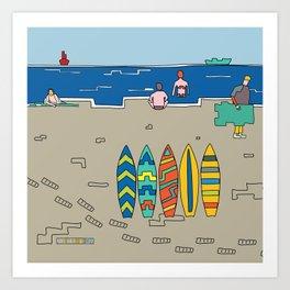 Afternoon at the beach (b) Art Print