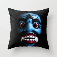 bali Throw Pillows featuring Bali mask by VanessaGF