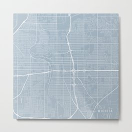 Wichita Map, USA - Slate Metal Print