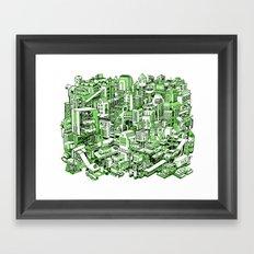 City Machine - Green Framed Art Print