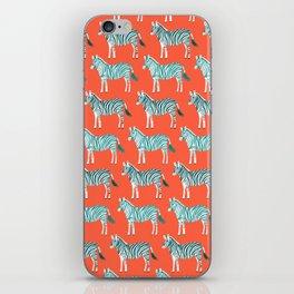 Zebra Parade Pattern Flame Teal iPhone Skin