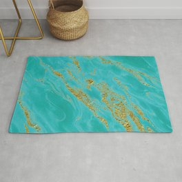 Luxury and glamorous gold glitter on aqua Sea marble Rug