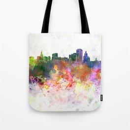 Hartford skyline in watercolor background Tote Bag