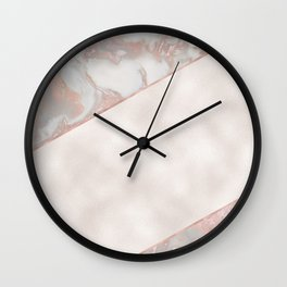 French polished rose gold marble & pearl Wall Clock