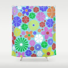 Colourful Colorful Flowers Pattern Shower Curtain