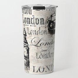 Vintage old newspaper paper London grunge collage sepia background Travel Mug
