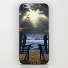 Two Adirondack Deck Chairs on the Beach with Waves crashing on the Shore iPhone Skin