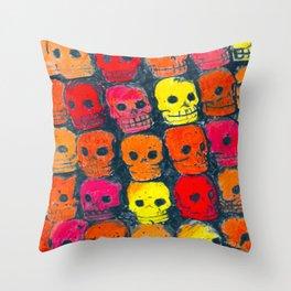 colorful  skulls ceramic vase Throw Pillow