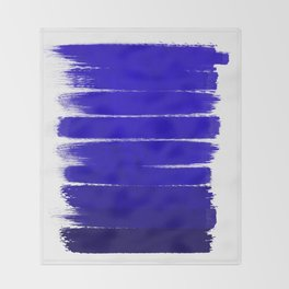 Shel - abstract painting painterly brushstrokes indigo blue bright happy paint abstract minimal mode Throw Blanket