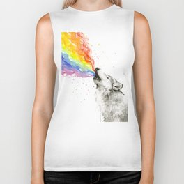 Wolf Howling Rainbow Watercolor Biker Tank