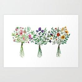 Wildflower Trio Art Print
