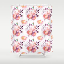 Purple orange pink hand painted watercolor roses Shower Curtain