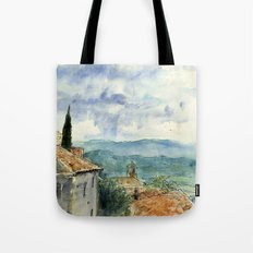 A View of Lacoste, France Tote Bag