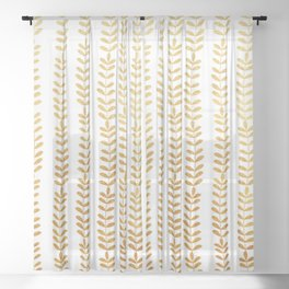 Trellis of Gold leafs Sheer Curtain