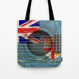 Old Vintage Acoustic Guitar with Fiji Flag Tote Bag