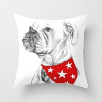 boxer Throw Pillows featuring Boxer by Natasha Maiklem