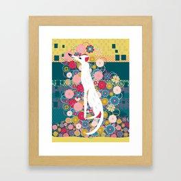 Dog on pattern Framed Art Print