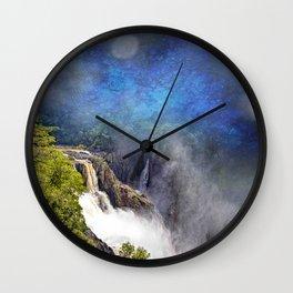 Wild waterfall in abstract Wall Clock